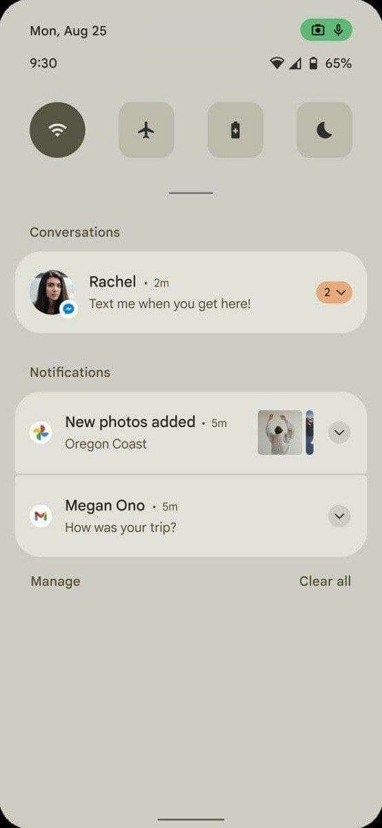 Android 12 Notification Panels