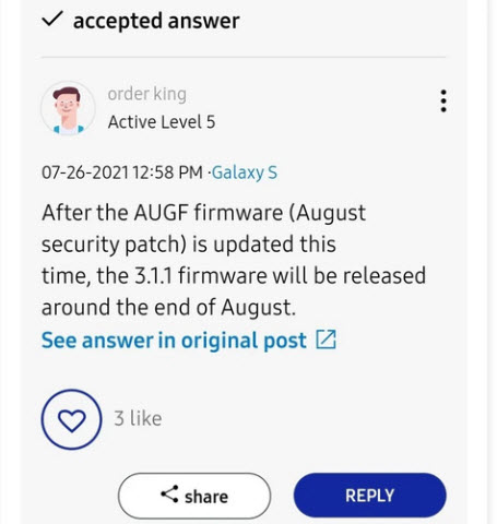Samsung Galaxy S21 One Ui 3.1.1